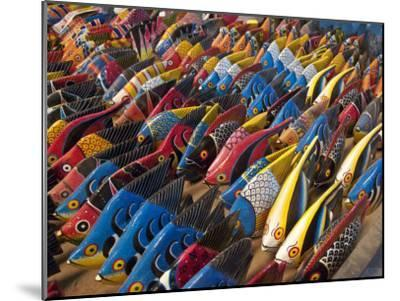 Painted Wooden Fish for Sale in Zanzibar-Michael Melford-Mounted Photographic Print