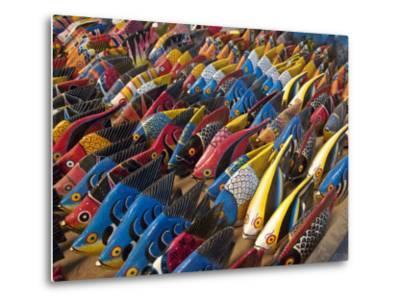 Painted Wooden Fish for Sale in Zanzibar-Michael Melford-Metal Print
