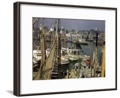 Commercial Fishing Boats of All Sizes Crowd the Town's Busy Harbor-B^ Anthony Stewart-Framed Photographic Print