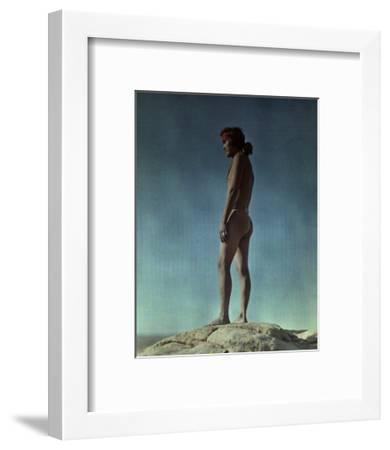 Portrait of a Hopi Indian Standing on a Rock-Franklin Price Knott-Framed Photographic Print