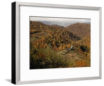 Scenic View of Farms Settled in a West Virginia Hillside Forest-B^ Anthony Stewart-Framed Photographic Print