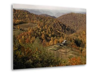 Scenic View of Farms Settled in a West Virginia Hillside Forest-B^ Anthony Stewart-Metal Print