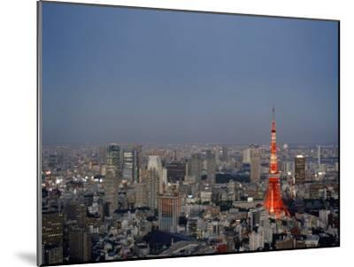 Tokyo City Skyline, with the Famous Tokyo Tower Illuminated-xPacifica-Mounted Photographic Print