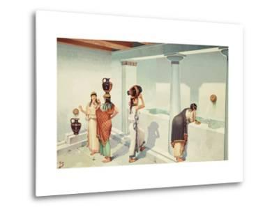 Ancient Greek Women Fill Jars with Water at a Town's Fountain House-H.M. Herget-Metal Print