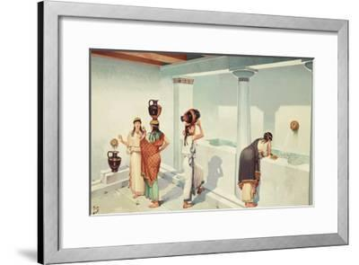 Ancient Greek Women Fill Jars with Water at a Town's Fountain House-H.M. Herget-Framed Giclee Print