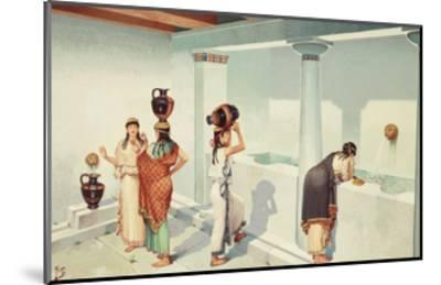 Ancient Greek Women Fill Jars with Water at a Town's Fountain House-H.M. Herget-Mounted Giclee Print