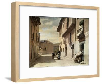 Woman and Donkey Stand in an Empty Street in Segovia-Gervais Courtellemont-Framed Photographic Print