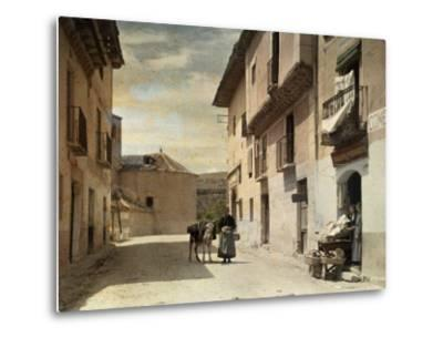 Woman and Donkey Stand in an Empty Street in Segovia-Gervais Courtellemont-Metal Print