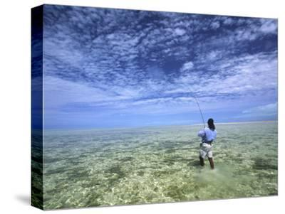 Flyfishing for Bonefish on the Bahama Flats-Michael Melford-Stretched Canvas Print