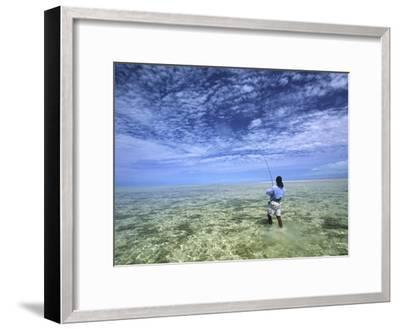 Flyfishing for Bonefish on the Bahama Flats-Michael Melford-Framed Photographic Print