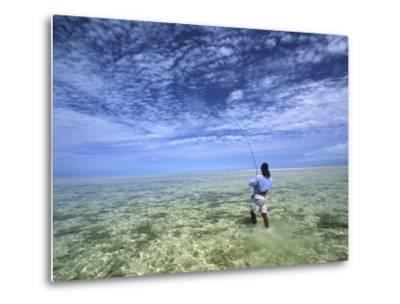 Flyfishing for Bonefish on the Bahama Flats-Michael Melford-Metal Print