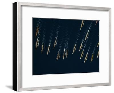 Aerial of an Annual Outrigger Canoe Race-Paul Chesley-Framed Photographic Print