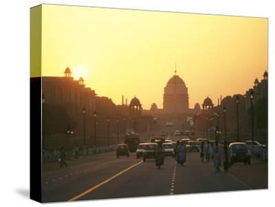 Capital Building in New Delhi, India, at Sunset-xPacifica-Stretched Canvas Print