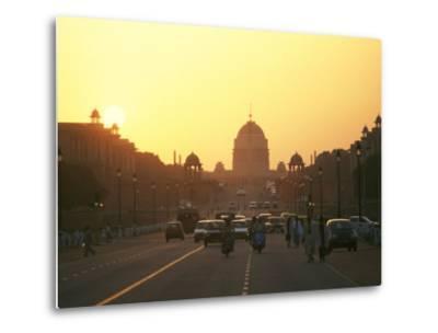 Capital Building in New Delhi, India, at Sunset-xPacifica-Metal Print