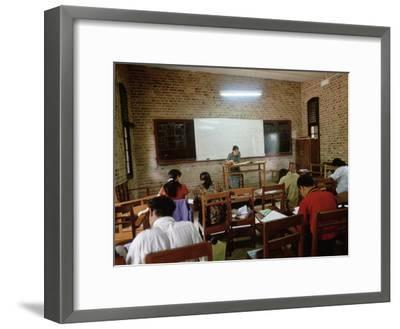 Students During a Lesson in a University Classroom in Rangoon, Burma-xPacifica-Framed Photographic Print