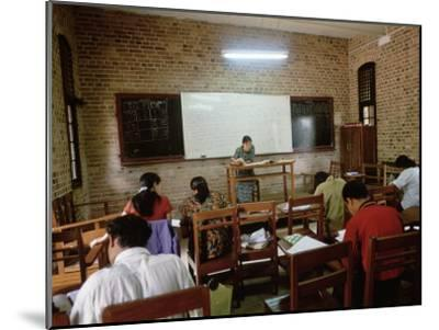 Students During a Lesson in a University Classroom in Rangoon, Burma-xPacifica-Mounted Photographic Print