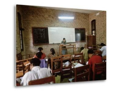 Students During a Lesson in a University Classroom in Rangoon, Burma-xPacifica-Metal Print