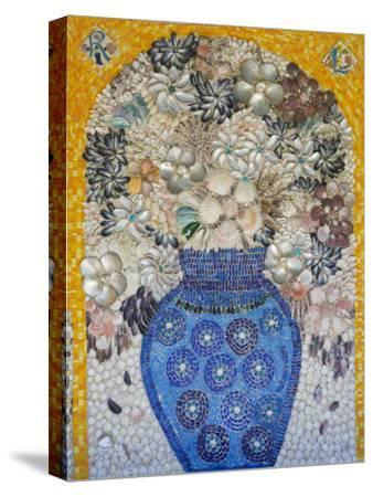 Mosaic of Flower Vase Made from Seashells and Mosaic Stones-Keenpress-Stretched Canvas Print