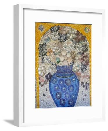 Mosaic of Flower Vase Made from Seashells and Mosaic Stones-Keenpress-Framed Photographic Print