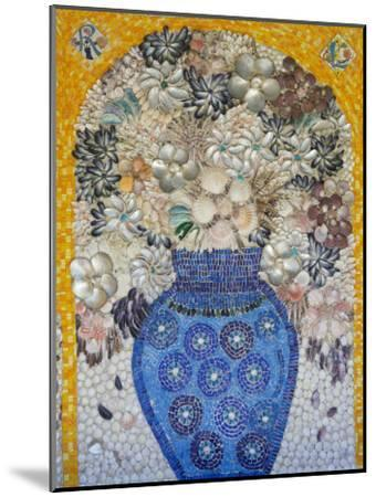 Mosaic of Flower Vase Made from Seashells and Mosaic Stones-Keenpress-Mounted Photographic Print