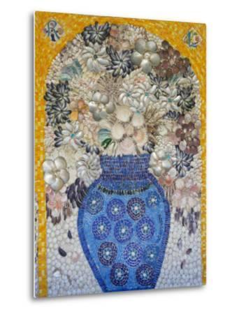 Mosaic of Flower Vase Made from Seashells and Mosaic Stones-Keenpress-Metal Print