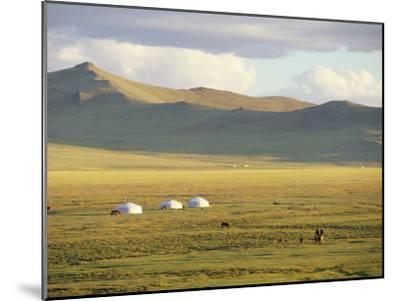 Steppeland Gers (Yurts) and Riders, Zavkhan, Mongolia-David Edwards-Mounted Photographic Print