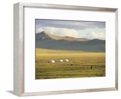 Steppeland Gers (Yurts) and Riders, Zavkhan, Mongolia-David Edwards-Framed Photographic Print