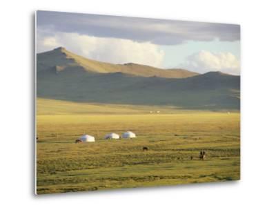 Steppeland Gers (Yurts) and Riders, Zavkhan, Mongolia-David Edwards-Metal Print