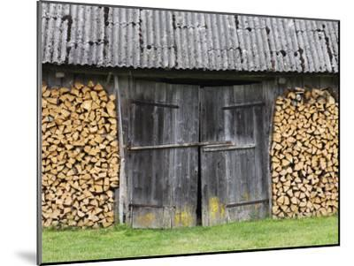 Barn Door Surrounded by Firewood Stacks-Keenpress-Mounted Photographic Print