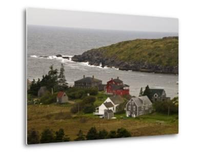 View of Homes and Rugged Coastline of Monhegan Island-Todd Gipstein-Metal Print