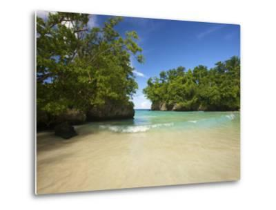 Secluded Beach at Frenchman's Cove in Jamaica-Michael Melford-Metal Print