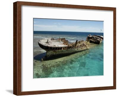 Reef Wreck of the Protector, Australia's First Naval Vessel-Tim Laman-Framed Photographic Print