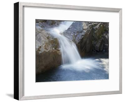 Small Waterfall Cascading over Rough Rocks-Tim Laman-Framed Photographic Print
