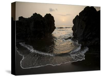 Sunset from the Volcanic Black Sand Beach on Bioko's South Coast-Tim Laman-Stretched Canvas Print