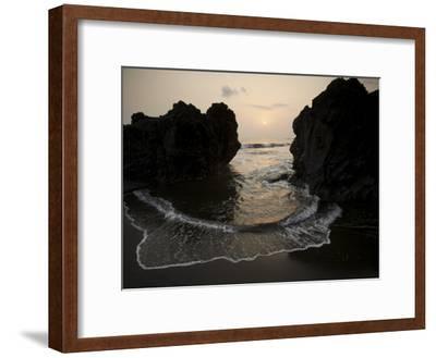 Sunset from the Volcanic Black Sand Beach on Bioko's South Coast-Tim Laman-Framed Photographic Print