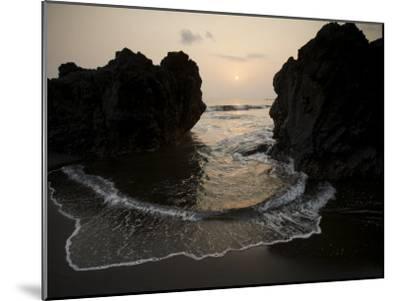 Sunset from the Volcanic Black Sand Beach on Bioko's South Coast-Tim Laman-Mounted Photographic Print