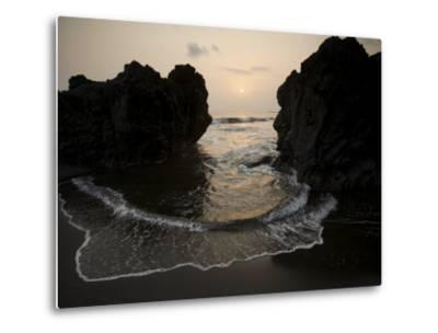 Sunset from the Volcanic Black Sand Beach on Bioko's South Coast-Tim Laman-Metal Print