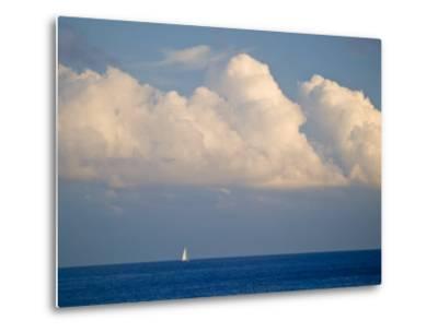 Lone Sailboat Sailing Along the Horizon in France-Michael Melford-Metal Print