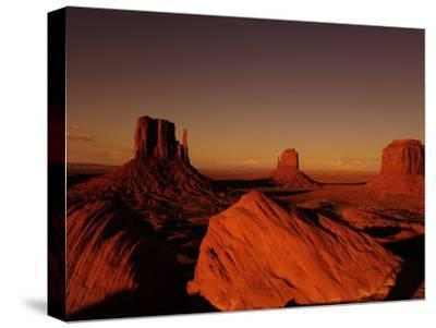 Buttes in Monument Valley at Sunset-Raul Touzon-Stretched Canvas Print