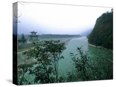Minjiang River Flows Past Temple Near Chengdu, China-O^ Louis Mazzatenta-Stretched Canvas Print