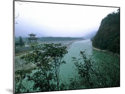 Minjiang River Flows Past Temple Near Chengdu, China-O^ Louis Mazzatenta-Mounted Photographic Print