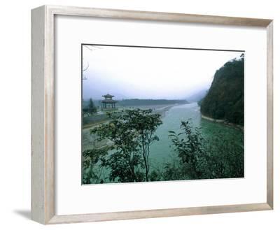 Minjiang River Flows Past Temple Near Chengdu, China-O^ Louis Mazzatenta-Framed Photographic Print