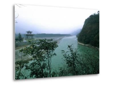 Minjiang River Flows Past Temple Near Chengdu, China-O^ Louis Mazzatenta-Metal Print