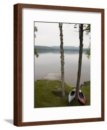 Two Kayaks Sit on Shore at Embden Pond in Maine-Hannele Lahti-Framed Photographic Print