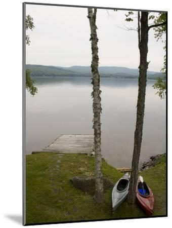 Two Kayaks Sit on Shore at Embden Pond in Maine-Hannele Lahti-Mounted Photographic Print