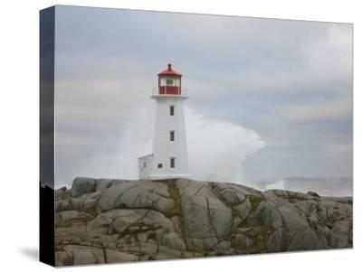 Waves Crashing into the Peggy's Cove Lightouse During Hurricane Noel-Mike Theiss-Stretched Canvas Print