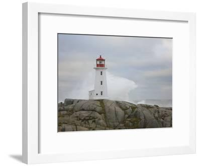 Waves Crashing into the Peggy's Cove Lightouse During Hurricane Noel-Mike Theiss-Framed Photographic Print