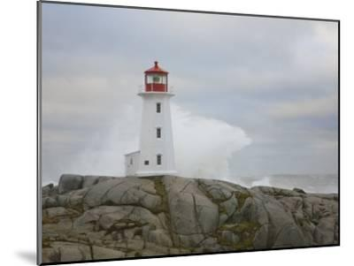 Waves Crashing into the Peggy's Cove Lightouse During Hurricane Noel-Mike Theiss-Mounted Photographic Print