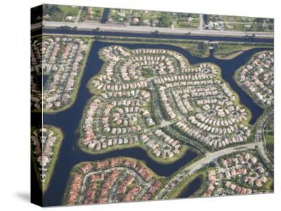 Aerial View of Housing Developments and Communities in Miami, Florida-Mike Theiss-Stretched Canvas Print