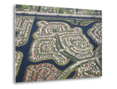Aerial View of Housing Developments and Communities in Miami, Florida-Mike Theiss-Metal Print